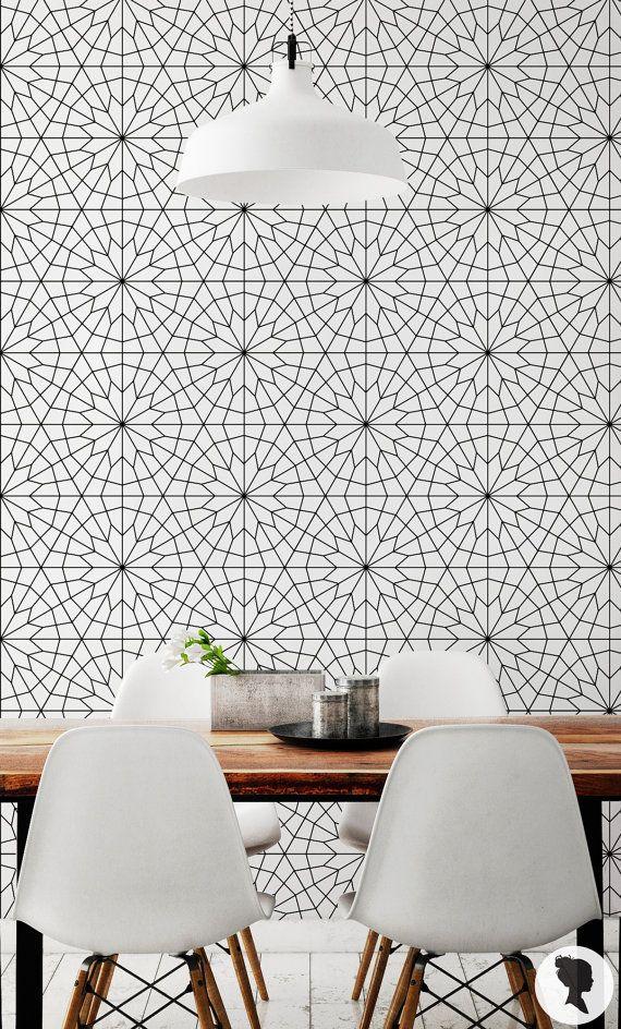 Carta da parati fiore geometrico / Self adesive o tradizionale