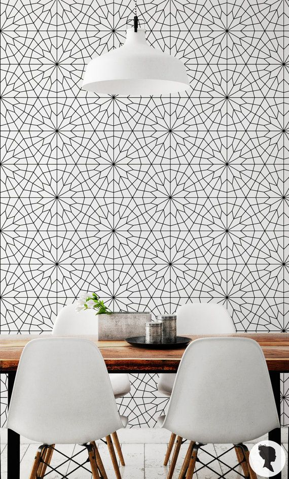 15% OFF Geometric Flower Wallpaper /  Self Adhesive or by Livettes                                                                                                                                                                                 More