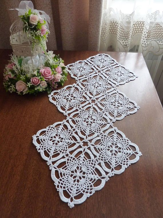table runner,white doily,crochet doily,crochet rhombus doily,lace doily,crochet rug,floral,lace tablecloth,crochet rug,unusual,beautiful
