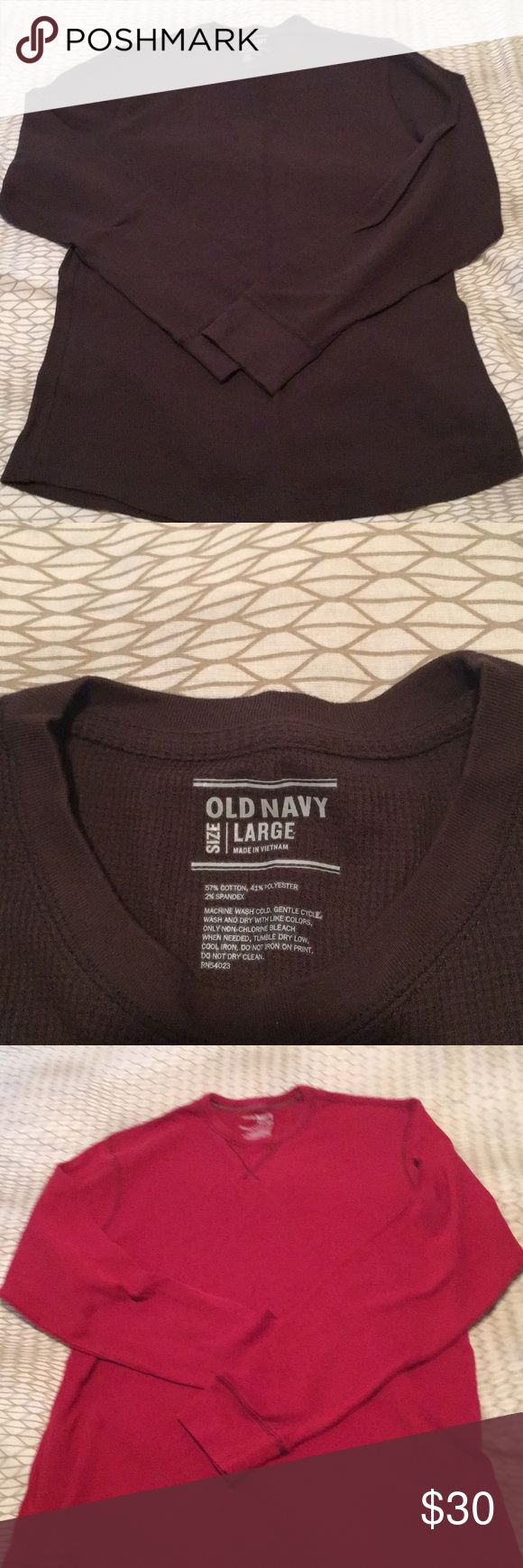 Men's Thermals Brown and red thermal from Old Navy. Both are Men's large. Gray thermal is from Sean Jean. Brand stitched on left breast and extra large in size. All in good condition. Old Navy Shirts
