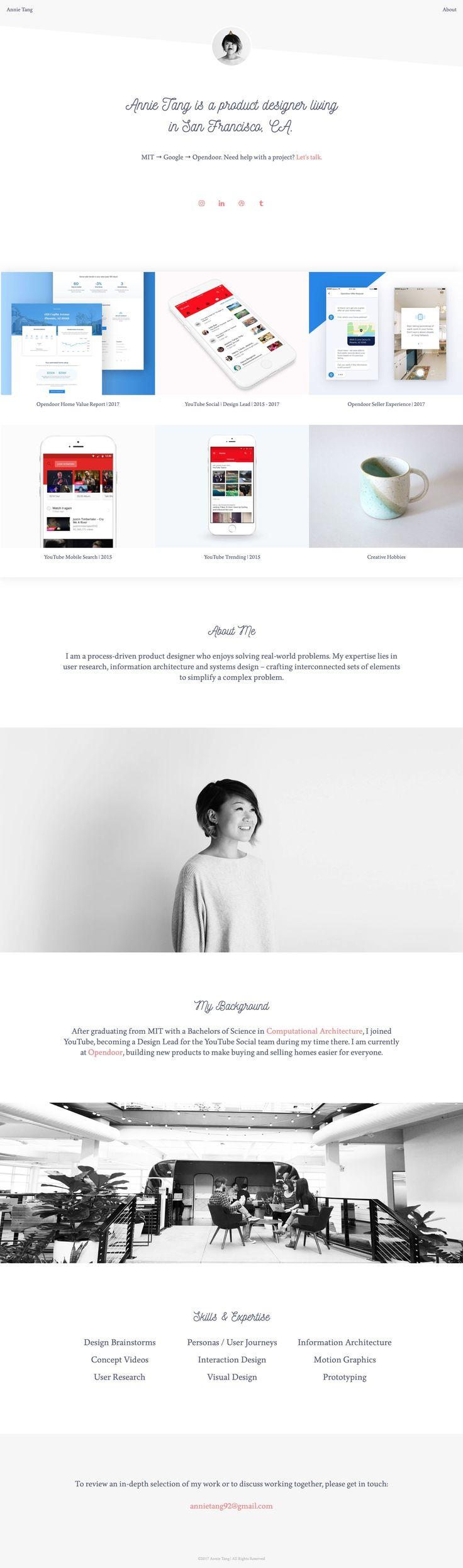 Annie Tang Portfolio (Selfcoded) Portfolio design