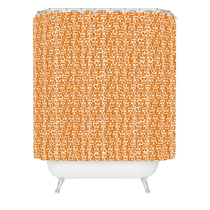 Aimee St Hill Skulls Orange Shower Curtain | DENY Designs Home Accessories