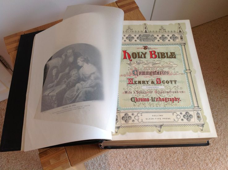 Late 19th century illustrated bible, leather-bound