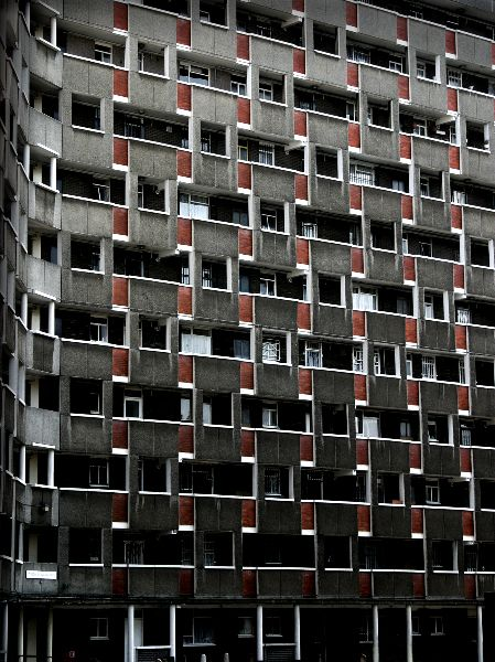 George Loveless House, Tower Hamlets, London. An example of post-war 'modernism', designed by the Soviet Union born Berthold Lubetkin; the building is Y-shaped, of concrete with red brick. Built in the early 1950's as council-owned housing, the flats are now in private ownership.