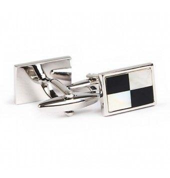 Sterling Silver Rectangular Shape Check Cufflinks