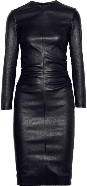 THE ROW.   Risting Ruched Leather Dress. Full coverage, but shows every curve.