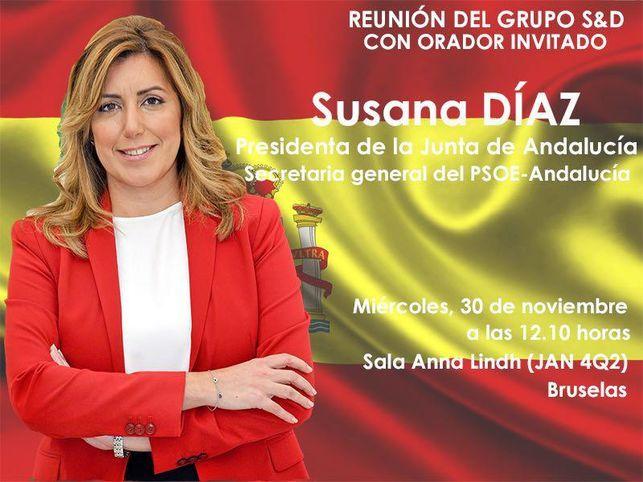 Los socialdemócratas europeos envuelven a Susana Díaz en la bandera de España en un viaje de la Junta de Andalucía