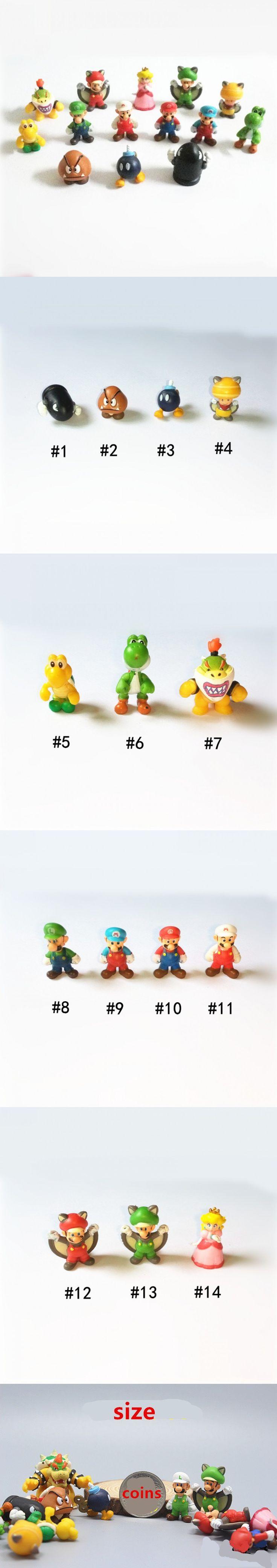 100PCS 2-3cm mini mario bros Luigi yoshi dinosaur one piece figure action toy PVC Super mario Gashapon model kids collection