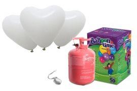 Pakket 40 witte hart helium ballonnen