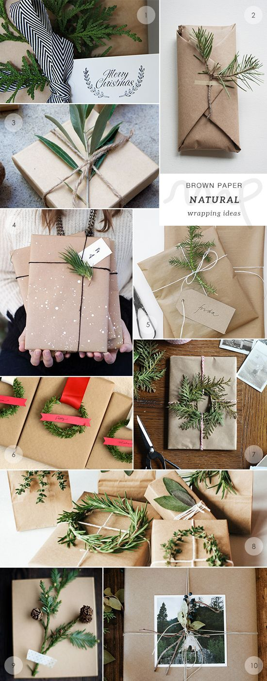 40 brown paper gift wrapping ideas! Recycle, reduce waste and save money as you package Christmas gifts this year. Check out the post for more inspiring images.
