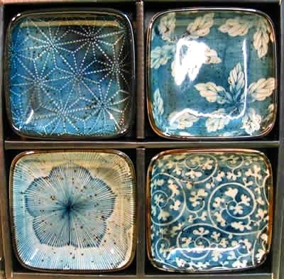 Blue garden dishes