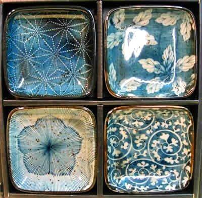 Blue garden dishes