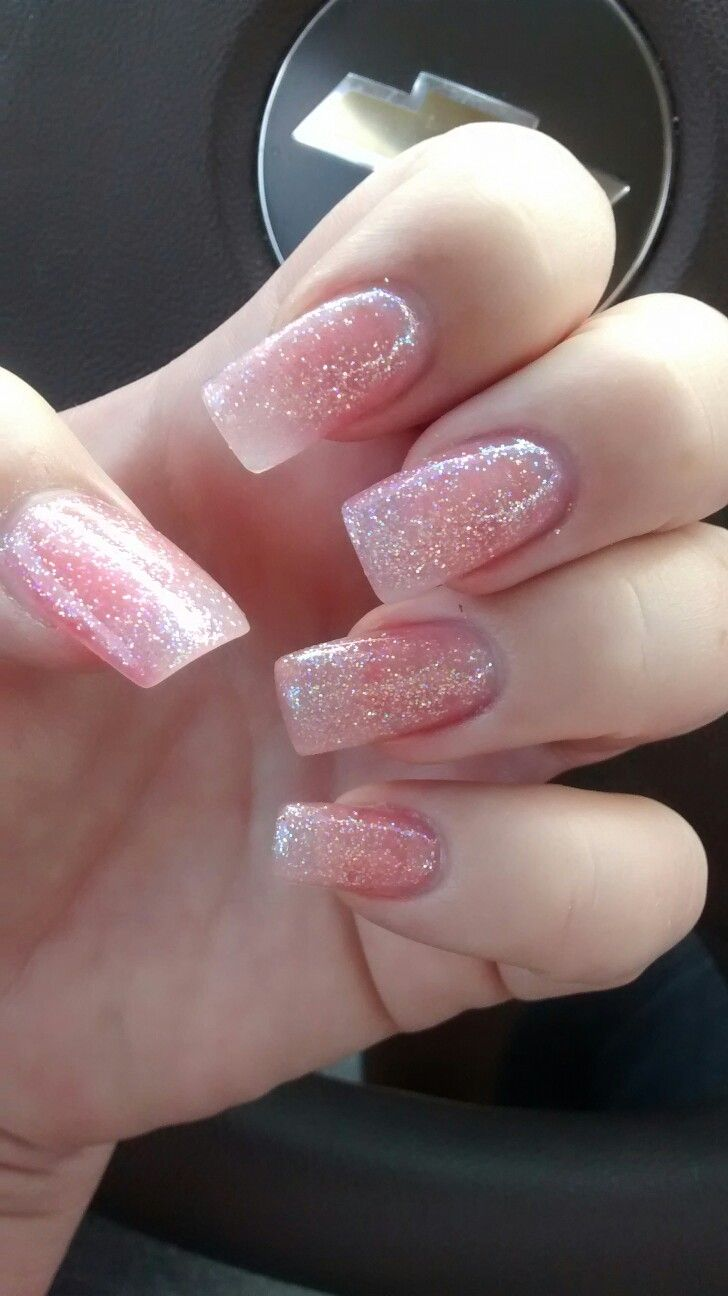 """Fresh set of acrylic nails with clear pink and glitter from Kiara Sky""""Iceberg"""" love these neutral sparkly nails"""