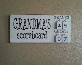 Grandma's Scoreboard with Grands and Greats tally tags grandparent, mother, father, gift pregnancy reveal