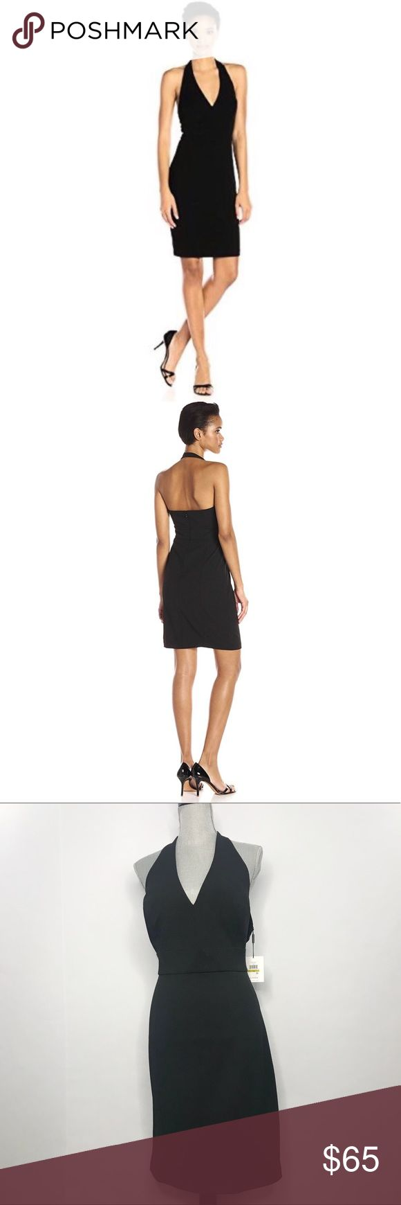 Calvin Klein halter dress Sexy little black dress. Halter dress with button closet at neck and zip closure. Calvin Klein Dresses