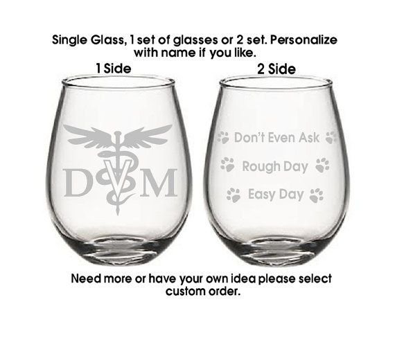 DVM Good day Bad day glass, Etched wine glasses,Vet Doctor, birthday gifts,Vet tech,FUNNY Glass Set, Pet Gifts, Christmas gifts,Etched gifts