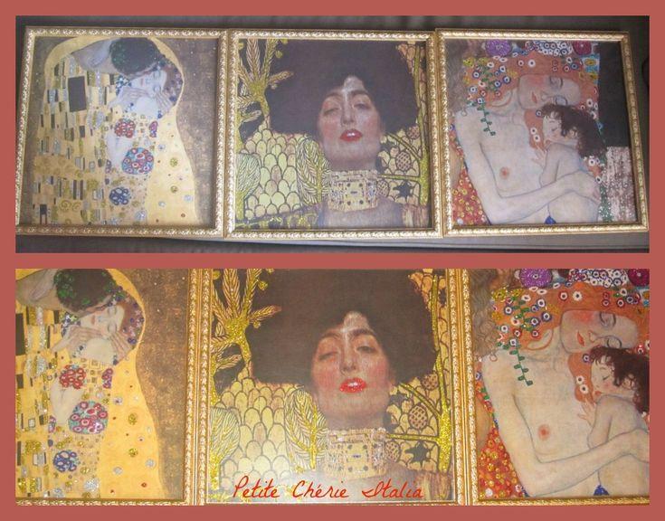 Stampe di quadri di Klimt personalizzate con Glitter. #DIY #klimt #glitter #oro #bacio #bambino