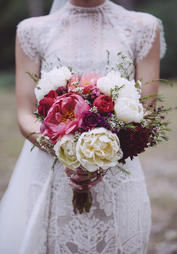 Bouquet in reds, whites and pinks
