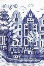 Delfts Blauw - cross stitch Grachtenpanden Amsterdam - Warehouses in Amsterdam