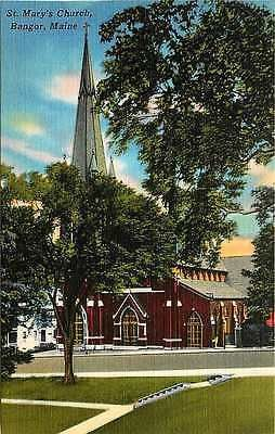 Bangor Maine ME 1940 St Mary's Church Collectible Antique Vintage Linen Postcard