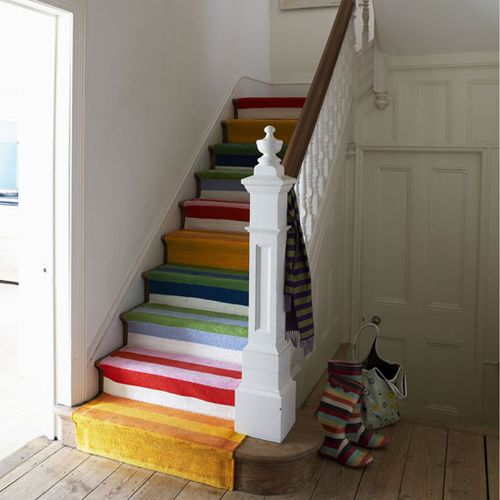 Rainbow striped stairs