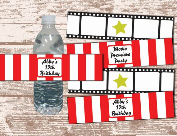 PRINTABLE PDF Hollywood Movie Party Theme Water Bottle by DeLamour, $7.00