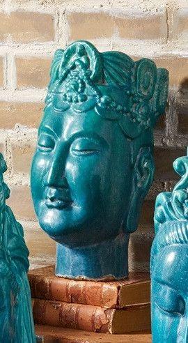Turq Buddha Heads 2 - Tozai Home
