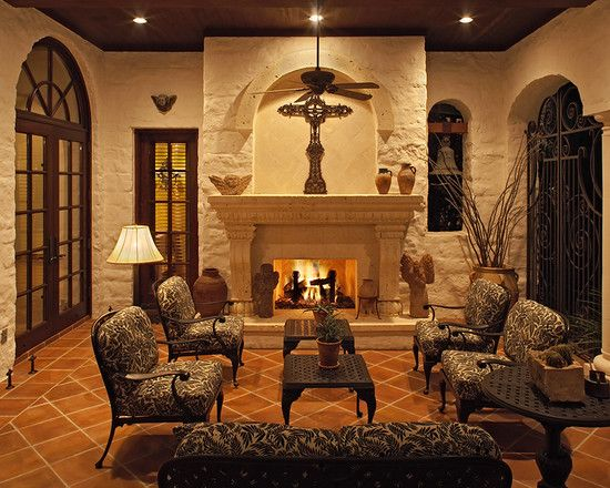 Mediterranean Corner Fireplace Design, Pictures, Remodel, Decor And Ideas    Page 16. Outdoor Living RoomsOutdoor ...