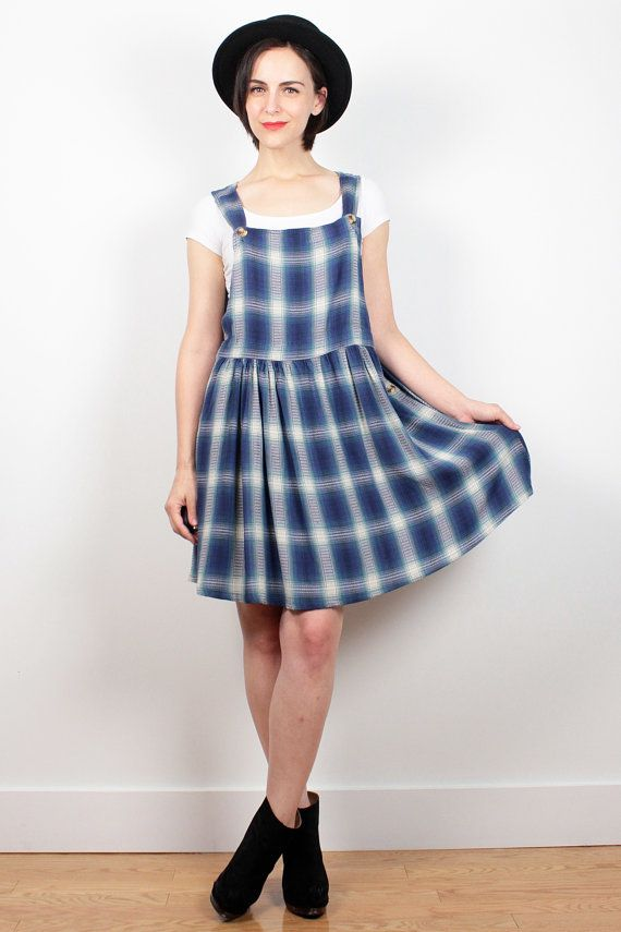 Vintage 90s Dress Blue Plaid Flannel Mini Dress 1990s