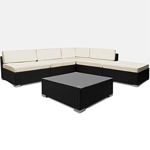 ☀️ 16tlg Garten-Lounge aus Polyrattan Geflecht mit XXL Kissen ☀️ Farbe schwarz ☀️ mit Tisch ☀️ geeignet für bis zu 6 Personen ☀️ Inklusive der Kissen