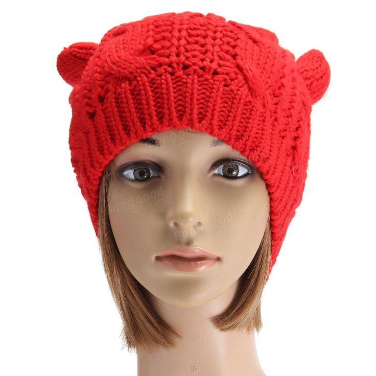 Women Ladies Crochet Knitted Cat Ear Devil Slouch Beanie Hat Winter Warm Cap at Banggood