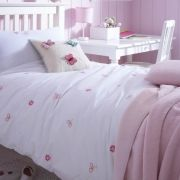 Charming butterfly design bed linen embroidered onto 100% organic cotton percale.  Gorgeous embroidered butterflies are scattered across the organic cotton duvet cover.  From £15. http://www.thefinecottoncompany.com/organic-and-natural-childrens-bedding/organic-cotton-childrens-duvet-covers/butterfly-collection/