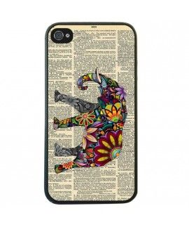 Elephant vintage olifant book case iPhone 5 5S hoesje. Een vintage case iPhone 5 met olifant voor een optimale iPhone besscherming van uw iPhone 5s hoesje. Met deze originele elephant tekening kan de vintage niet meer op.  Retro iphone 5 case, hoesje iphone 5s fashion, fashion iphone 5s case, hoesje retro iphone 5