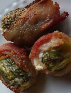 Brussel sprouts wrapped in bacon.  Gonna make for packer game today. ..
