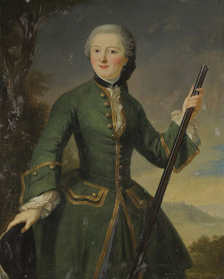 Portrait of a lady in hunting attire, first half 18th century, French school