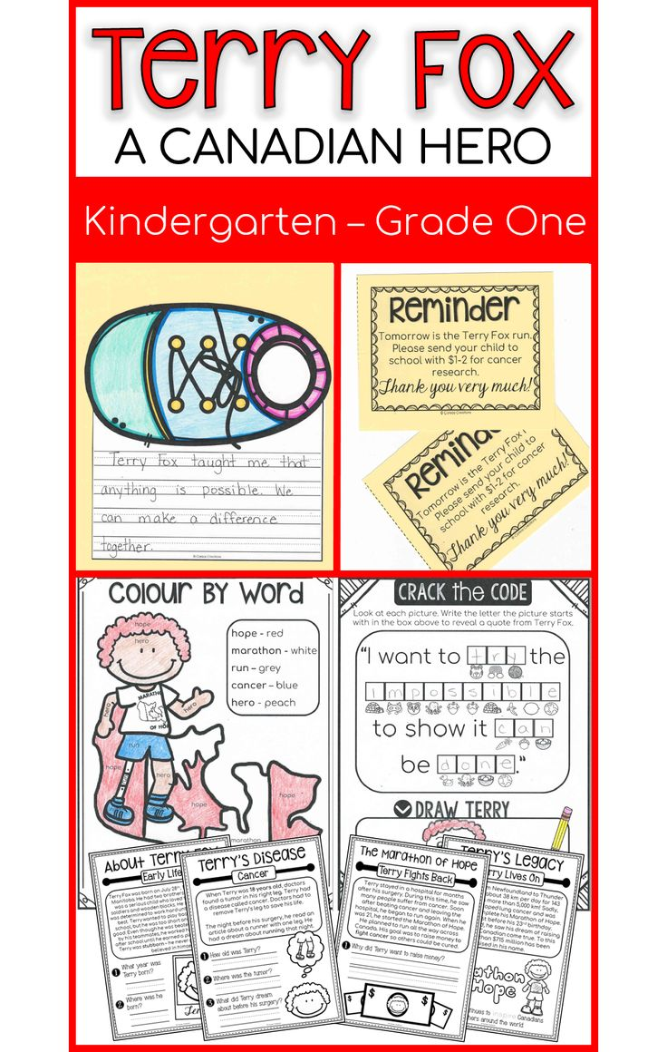 Teach your Kindergarten or First Grade class all about Terry Fox! Info booklet, printables, emergent reader, and more!