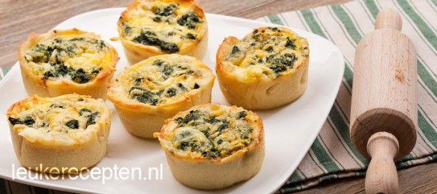 Hartig lunch recept of lekker voor bij de high tea; mini quiche met spinazie en gorgonzola 25 MIN   25 MIN OVENTIJD (200 GRADEN) – 6 STUKS  site LEUKE RECEPTEN