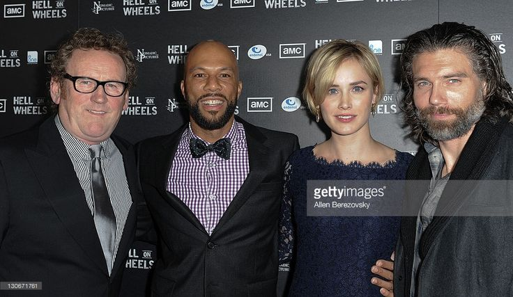 Actors Colm Meaney, Common, Dominique McElligott and Anson Mount arrive at the AMC's 'Hell On Wheels' Los Angeles premiere at L.A. LIVE on October 27, 2011 in Los Angeles, California.