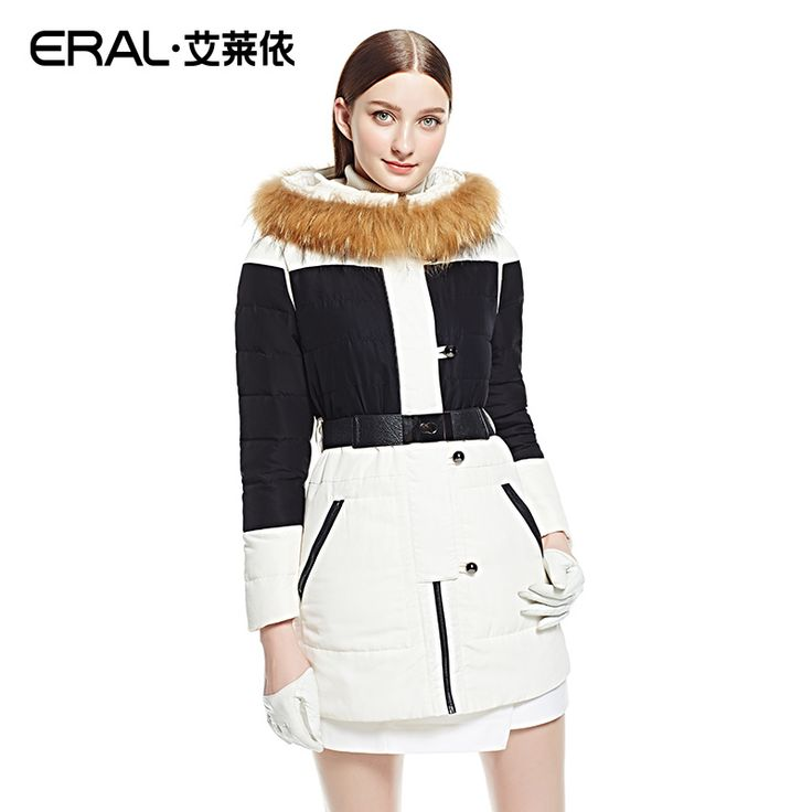 Cheap coat down, Buy Quality coats coats directly from China coat slim Suppliers: ERAL 2016 Winter Women's Patchwork Contrast Color Medium-long Big Raccoon Fur Hood Slim Luxury Down Jacket Coat ERAL6036D