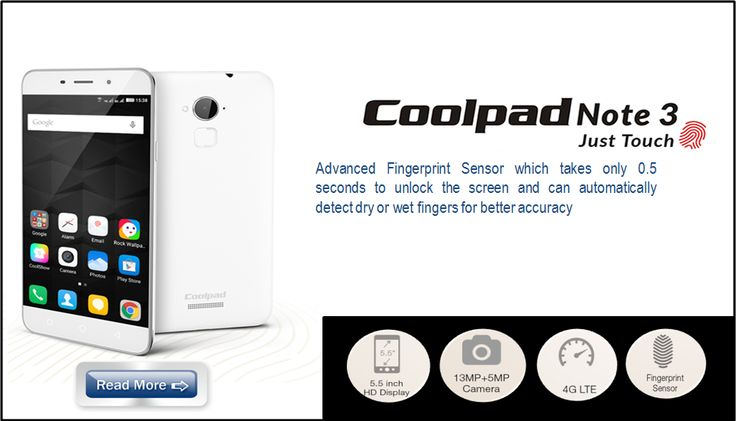 CMOS FPC1025 Touch fingerprint sensor embedded on Coolpad Note 3 Smartphone for enhancing its functionality and system performance as like, it support 360 degree scanning , unlock within 0.5 Second and better image quality