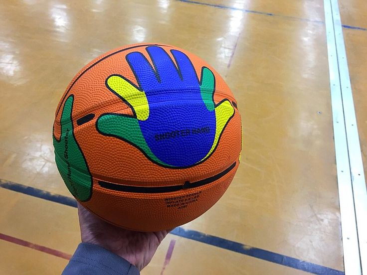 Great piece of equipment showing hand placement for shooting!! #physed