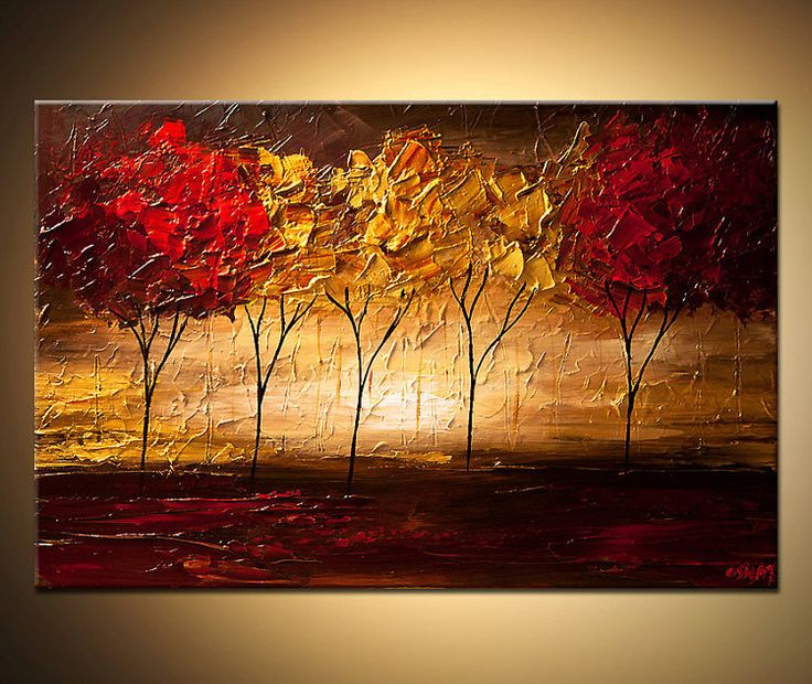 Landscape Abstract Contemporary Blooming Tree by OsnatFineArt