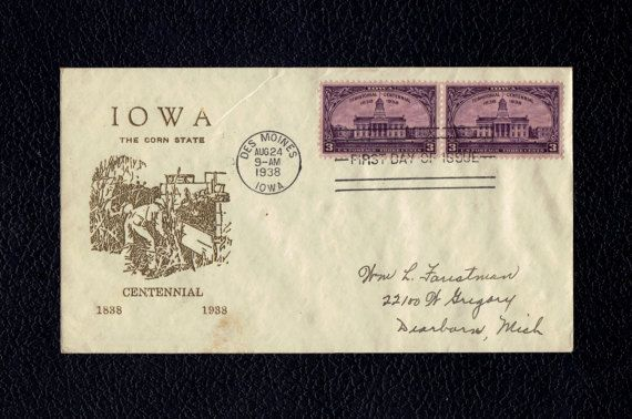 Iowa Territorial Centennial Aug 24 1938 Des Moines IA First Day Cover  Scott's US 838 FDC Planty #61
