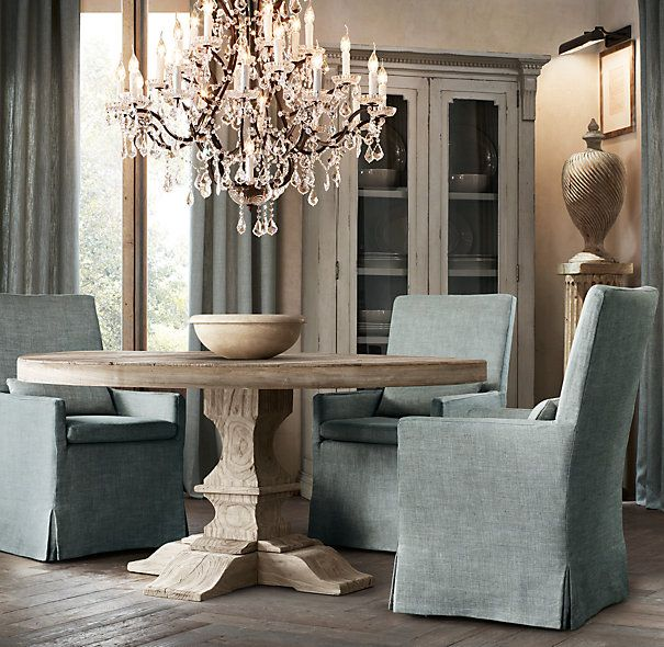 RHu0027s Dumont Round Dining Table:Drawing Inspiration From Europe, Our Elm  Table Features Exquisite, Hand Carved Supports. To Achieve The Beautifully  Weathered ...
