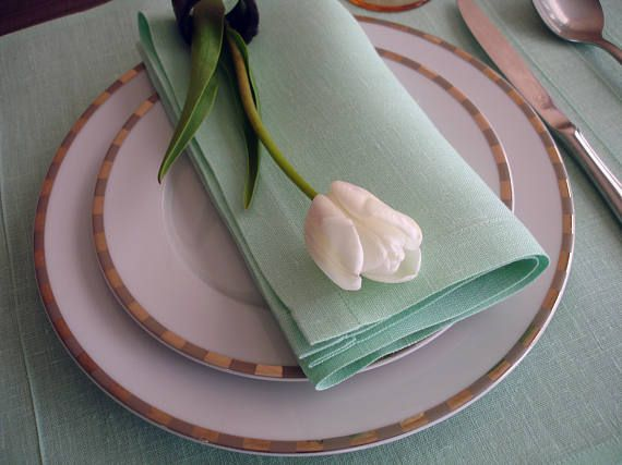 Green dinner set of 1 placemats  1 cloth napkins natural