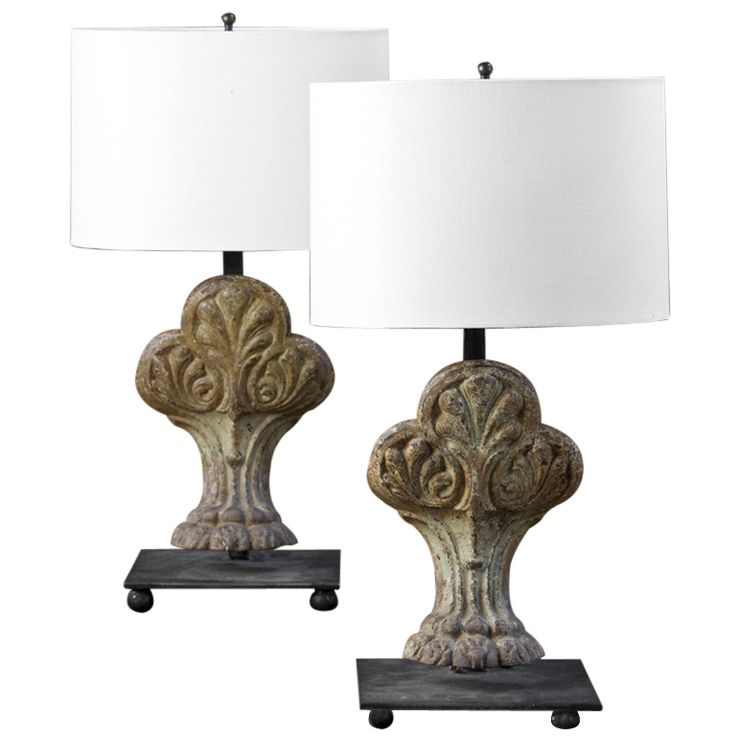 Pair of Antique Bathtub Feet Lamps | 1stdibs.com
