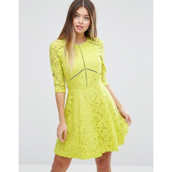 ASOS Skater Dress in Lace with Ladder Trim ($74) ❤ liked on Polyvore featuring dresses, yellow, night out dresses, lace prom dresses, lace skater dress, yellow prom dresses and skater skirt dress