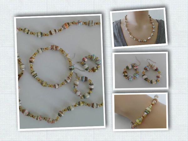 Ketting, armband en oorbellen van papieren kralen, paper beads
