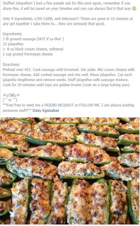 My Favorite and absolute best Stuffed Jalapenos. Cooked and Drained Sausage…