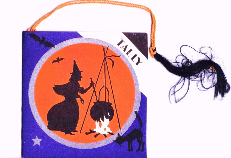 1920s HALLOWEEN Bridge Tally / Score Card - Witch And Bubbling Cauldron - Vintage / Antique. $12.00, via Etsy.